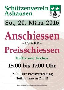 Plakat SV Ashausen Anschiessen LG + KK__2016