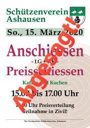 Anschiessen 2020 Schützenverein Ashausen
