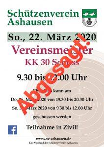 Vereinsmeisterschaft KK 2020 Schützenverein Ashausen